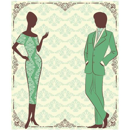 Vintage silhouette of girl with man. Vector
