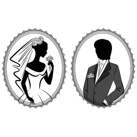 美しい花嫁と花婿  イラスト・ベクター素材