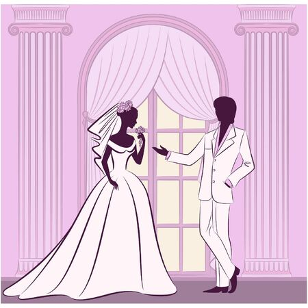 beautiful bride and groom Vector