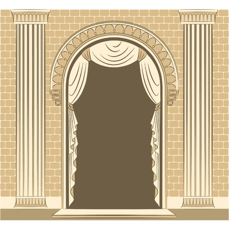 The vintage inter with curtain. Stock Vector - 11106888