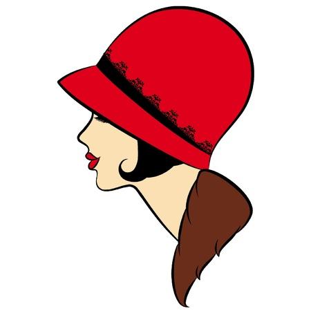 Vintage fashion girl in hat. Ilustrace