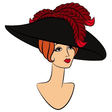 Fashion girl de cru dans le chapeau.