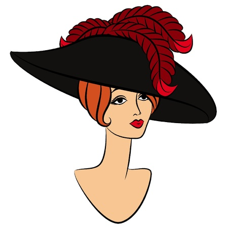 Vintage fashion girl in hat. Stock Vector - 11106855