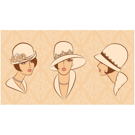 vintage clothing: Vintage fashion girl in hat. Illustration