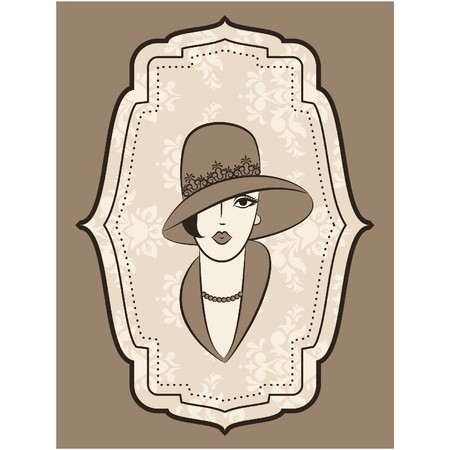 Vintage fashion girl in hat. Stock Vector - 11106870