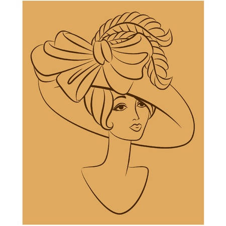 Vintage fashion girl in hat. Stock Vector - 11106858