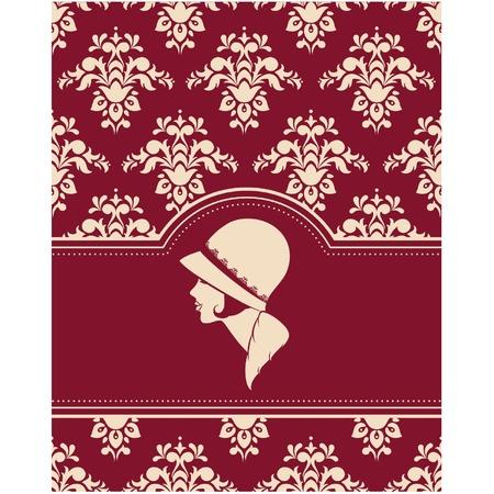 tapestry: Vintage fashion girl in hat. Illustration
