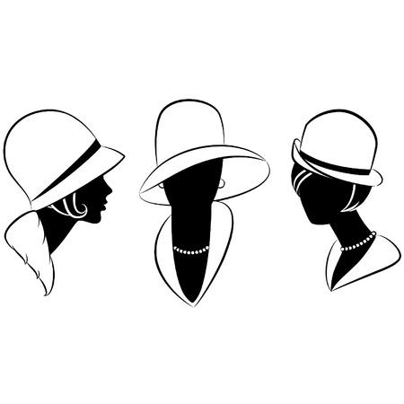 old dame: Vintage moda ragazza nel cappello.