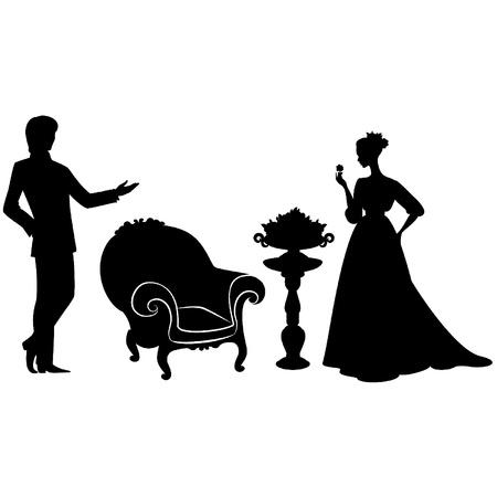 classic woman: Vintage silueta de la muchacha con el hombre.