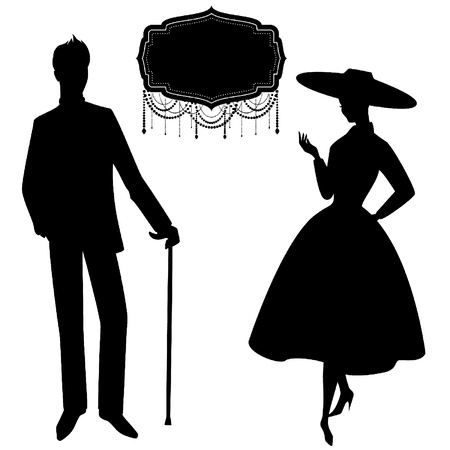 Vintage silhouette of girl with man. Ilustrace