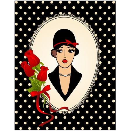 Vintage fashion girl in hat. Stock Vector - 11106884