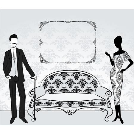 mann couch: Vintage Silhouette des M�dchens mit den Menschen. Illustration