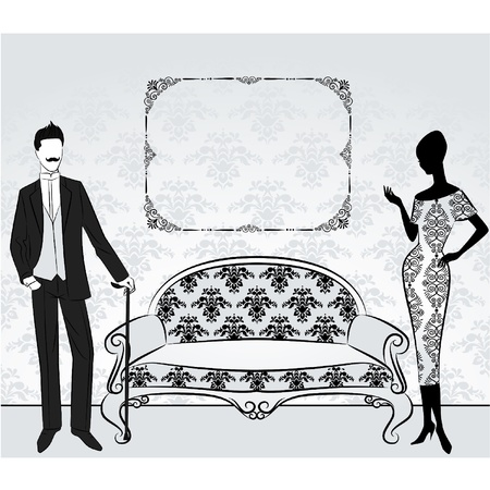 old black man: Vintage silhouette of girl with man. Illustration