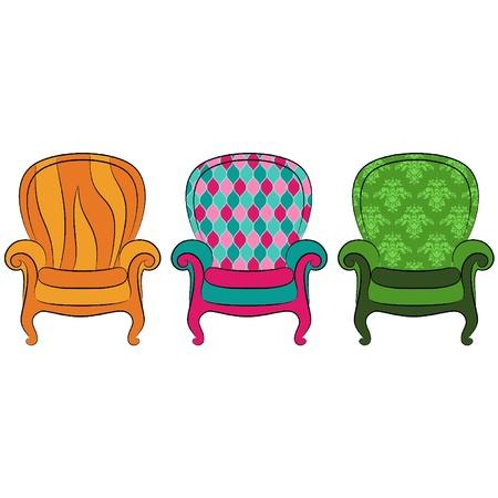 ビンテージ インテリアのベクトルの腕椅子