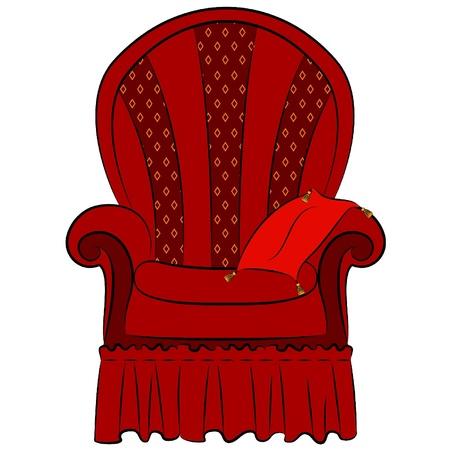red couch: Vector poltrona per interni d'epoca Vettoriali