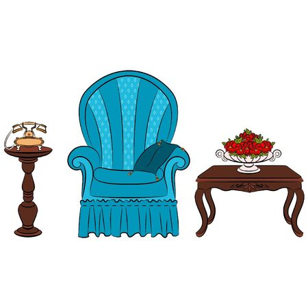 sofa viejo: Vector de muebles para interiores de �poca