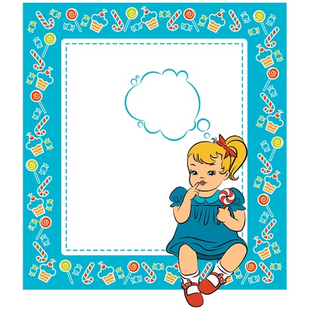 Vintage cartoon little girl with candy. Vector