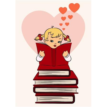 Vintage cartoon little girl with book Vector