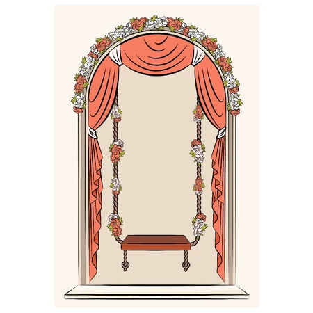 The vintage swings with curtain and flowers Vector