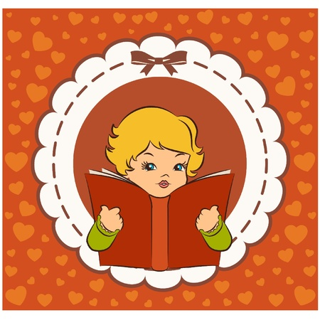 Vintage cartoon little girl with book Vector