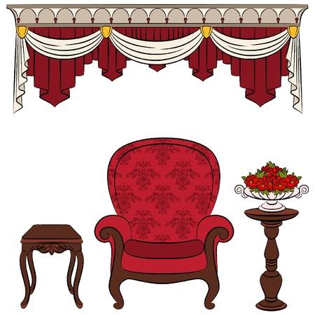 sofa viejo: muebles para interiores de �poca Vectores