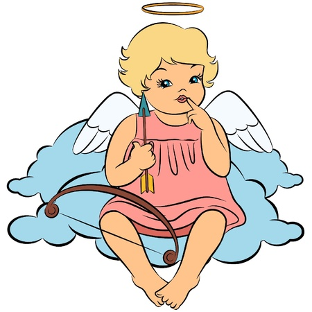 Beautiful baby angel. Vector Vector