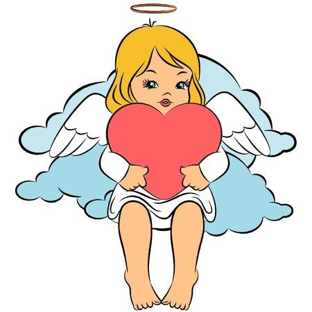 Beautiful baby angel. Vector
