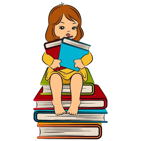 literacy: Vintage cartoon little girl with book