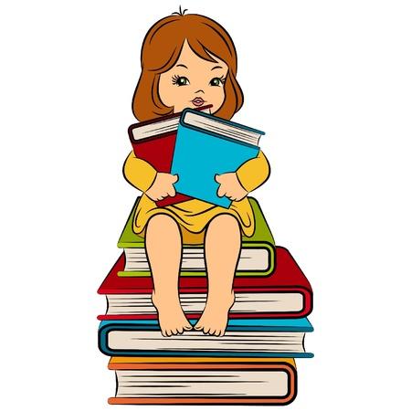Vintage cartoon little girl with book Stock Vector - 11106869