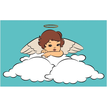 Beautiful baby angel with wings. Illustration