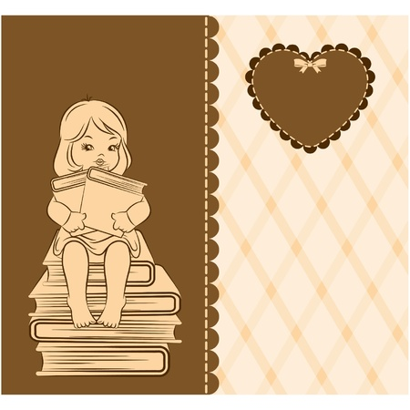 literary characters: Vintage cartoon little girl with book
