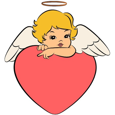 Beautiful baby angel with wings Stock Vector - 11106850
