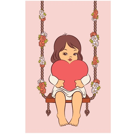 cartoon little girl: Cartoon little girl with heart on the swings