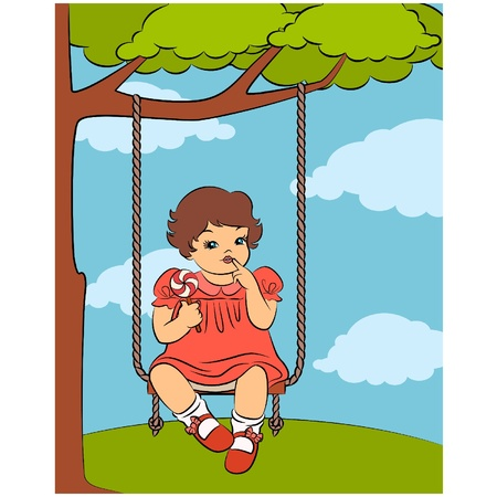 Cartoon little girl on the swings Vector