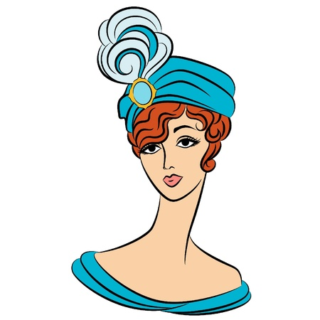 Vintage fashion girl in hat. Vector