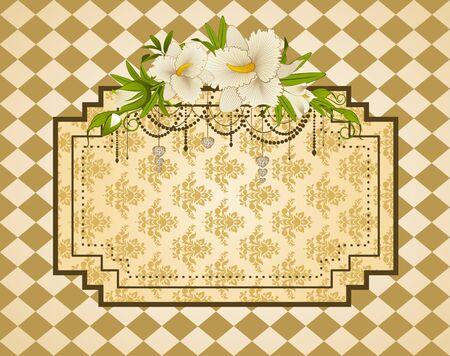Flowers with tapestry ornaments on background photo