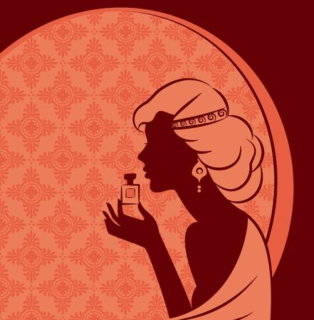Vintage fashion girl with perfume.  photo