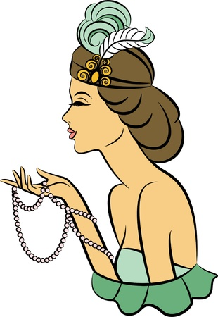 Vintage fashion girl with beads. photo