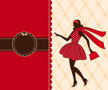 antique woman: Vintage silhouette of girl .