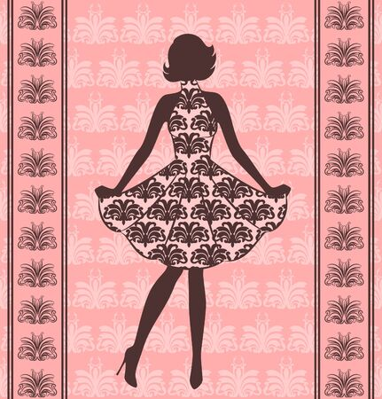 Vintage silhouette of girl . photo