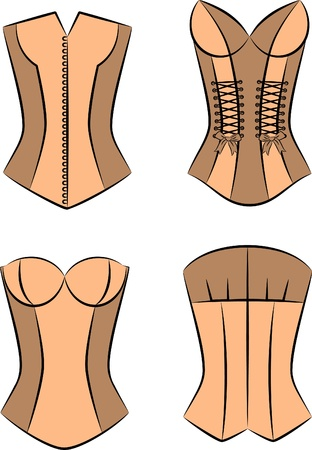 Vintage corsets on background photo