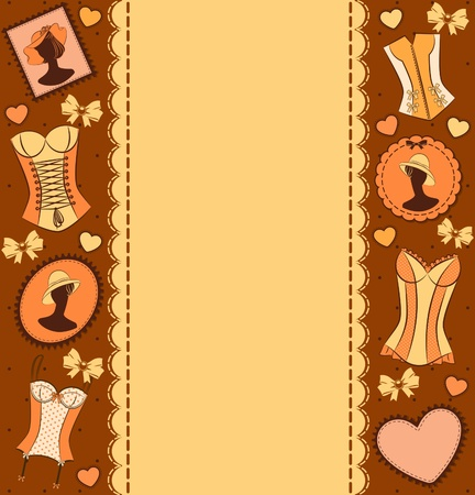 underclothing: Vintage corset on ornament background. Stock Photo