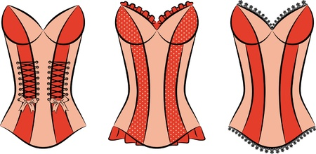underclothing: Vintage corsets on ornament background.