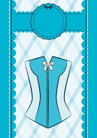 Vintage corset on ornament background.  photo