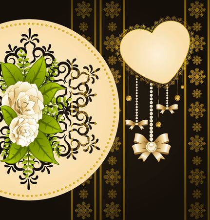 Flowers with lace ornaments on background photo