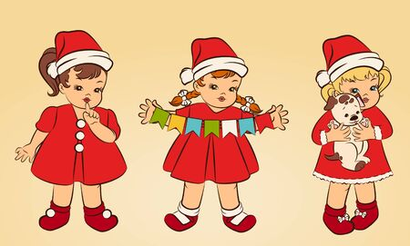 snow maiden: Cartoon little girls in suit Snow Maiden. Stock Photo