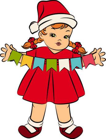 snow maiden: Cartoon little girl in suit Snow Maiden.