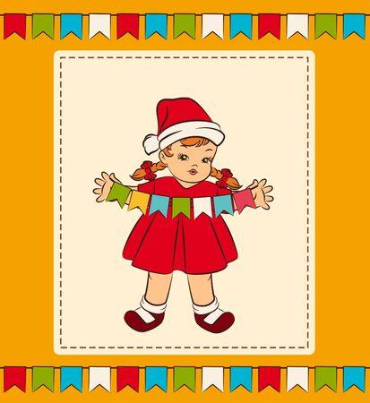 Cartoon little girl in suit Snow Maiden.  photo