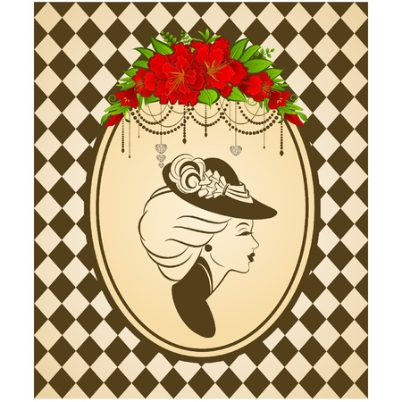 Vintage fashion girl in hat with flowers Vector
