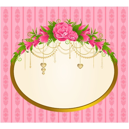 Flowers with tapestry ornaments on background. Vector